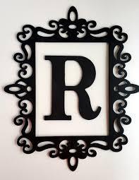 Black Ornate Frame Letter Wall Decor Framed Initial