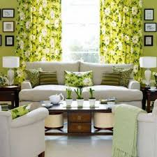 floral green curtains making a living room more fresh create a