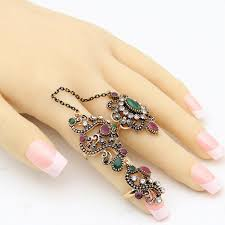 antique gold rings images Vintage flower turkish rings adjustable size women colorful resin jpg