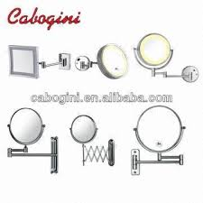 Bathroom Magnifying Mirror by Brass Wall Mounted Led Lighted Extendable Round Frame Bathroom