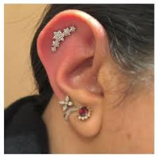 diamond helix stud large diamond flower garland tash threaded stud helix helix jewelry
