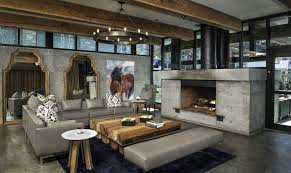 marvelous family room decoration with concrete floors also