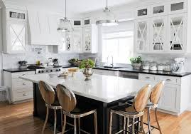 kitchen and dining interior design hanging pan as interior decoration oak wood cabinet with clear
