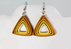 paper ear rings paper triangle earrings modern quilling colors