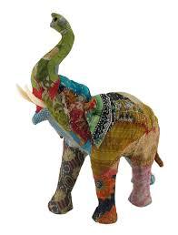 Elephant Statue Amazon Com Paper Mache Sculptures Vintage Sari Fabric Covered
