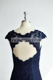 cap sleeves keyhole back navy blue lace short knee wedding