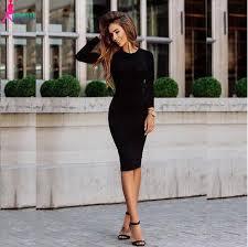 korean dress black sheath office dress women bodycon dress