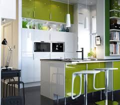 kitchen minimalist two toned white and green kitchen cabinet