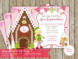 printable elf girl gingerbread house elf girl invitation christmas holiday sweet shop