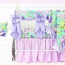 Teal And Purple Crib Bedding Purple Paige Ruffle Baby Bedding Caden Lane