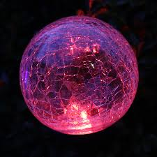 Crackle Globe Solar Lights by Color Changing Crackle Glass Globe Solar Stake Light