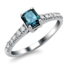 blue and white engagement rings 14k white gold radiant blue engagement ring