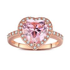 pink sapphire rings images Heart cut pink sapphire rose gold 925 sterling silver engagement jpg