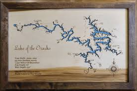 Lake Lanier Map Lake Of The Ozarks Missouri Framed Wood Map Wall Hanging This