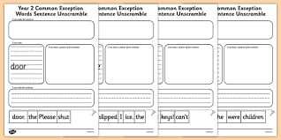 jumbled up sentences year 2 common exception words sentence