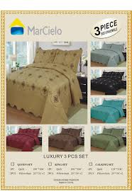 Coverlets For King Size Bed Amazon Com Marcielo 3 Piece Fully Quilted Embroidery Quilts