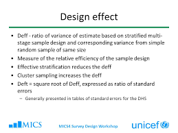 design effect in survey multiple indicator cluster surveys survey design workshop ppt
