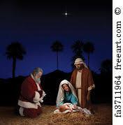 santa kneeling at the manger free print of christmas nativity with santa claus christmas