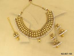 gold jewelry necklace sets images Polki necklace sets pearl with gold mixture jumki with antique jpg