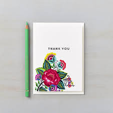 floral folk personalised thank you cards says i do