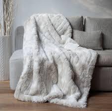plaid canapé plaid fausse fourrure loup blanc 140x180cm home loups blancs