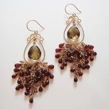 Garnet Chandelier Earrings Garnet Pink Tourmaline And Smokey Topaz Gold Chandelier Earring