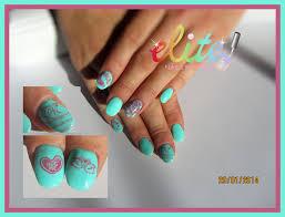 aqua and pink cnd shellac nails gel polish stamping konad oval