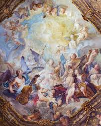 vienna july 3 baroque angel choirs fresco from ceiling one