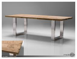 provence dining table reclaimed solid wood top stainless steel