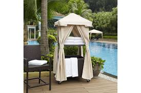 Crosley Palm Harbor Patio Furniture Palm Harbor Outdoor Wicker Towel Valet With Sand Cover By Crosley