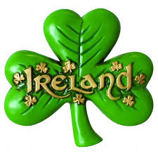magnet of large shamrock and gold text and small shamrock