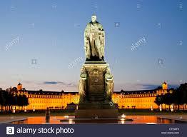 Karlsruhe Baden Baden Monument For Karl Friedrich Von Baden In Front Of The Illuminated