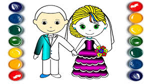 little bride and little groom coloring page youtube