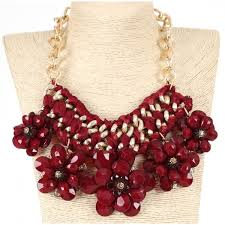 red fashion necklace images Burgundy wine red and gold flower cluster statement necklace jpg