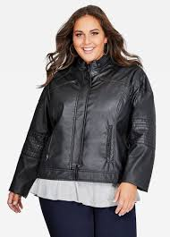 leather racing jacket plus size jacket zip collar faux leather racing jacket