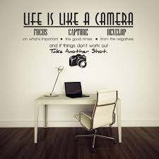 compare prices on unique office decorations online shopping buy unique removable life is like a camera quote wall stickers decals office study decoration mural diy