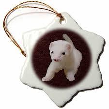 3drose llc baby albino ferret 3 inch snowflake porcelain ornament