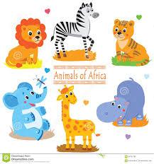 safari cartoon cartoon safari animals pack cute vector set stock vector