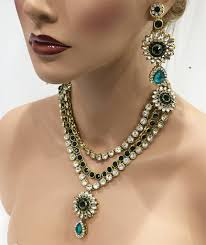 green fashion necklace images Flower inspired traditional indian wedding bridal kundan jewelry jpg
