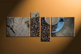 modern kitchen artwork 4 piece brown coffee kitchen multi panel canvas