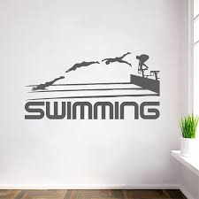 wall design decal promotion shop for promotional wall design decal swimming quotes sport series art vinyl wall stickers swim athletes jumping silhouettes special designed wall decals mural