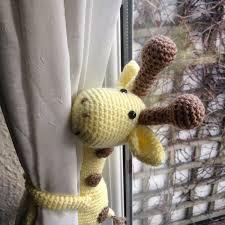 curtain tie back crochet giraffe single nursery curtain tie
