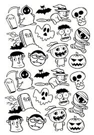 Free Coloring Pages For Halloween To Print by Halloween Doodle Characters Halloween Coloring Pages For