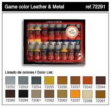 leather u0026 metal game color paint set 16 colors hobby and model