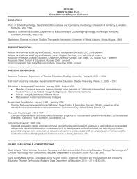 Example Of Education Resume by Sample Resume Graduate Psychology Templates