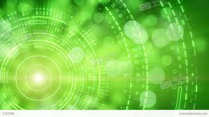 green abstract background lights and tech circles stock animation
