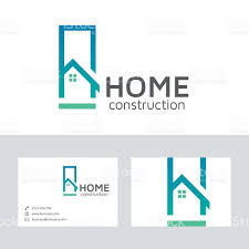 home construction vector logo with business card template stock