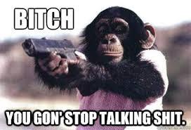 bitch you gon stop talking shit monkey quickmeme