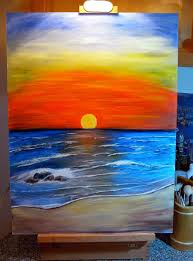 beautiful easy acrylic painting ideas for beginners with sunset