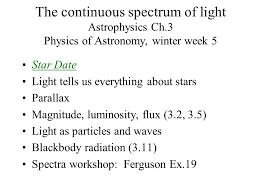 Physics Of Light The Continuous Spectrum Of Light Astrophysics Ch 3 Physics Of